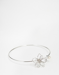 Asos Limited Edition Open Flower Cuff Bracelet With Faux Pearl Silver