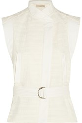 Vanessa Bruno Cast Belted Textured Cotton Blend Vest White