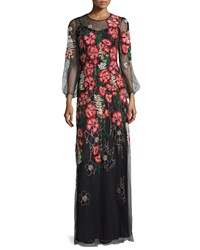 Jenny Packham Long Sleeve Embroidered Floral Dress Black Women's