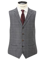 John Lewis And Co. Hooper Prince Of Wales Check Tailored Waistcoat Mid Grey