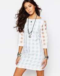Reclaimed Vintage X Liquid Lunch Sheer Gingham Check Shift Dress Blue