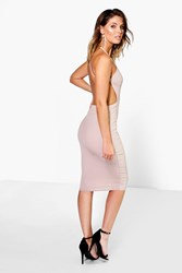Boohoo Ribbed Open Back Detail Midi Bodycon Dress Sand