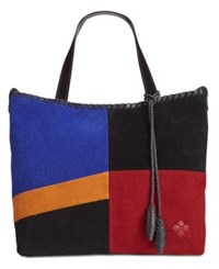 Patricia Nash Suede Colorblock Zola Satchel Black Multi