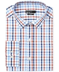 Bar Iii Men's Slim Fit Rust Multi Color Check Dress Shirt Only At Macy's