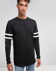 Jack And Jones Long Sleeve Top With Sports Stripe Black