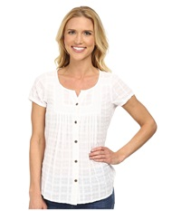 Prana Lucie Top White Women's Short Sleeve Button Up