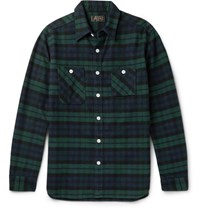 Beams Plus Slim Fit Checked Cotton Flannel Shirt Green