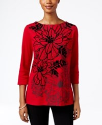 Karen Scott Embellished Floral Print Top Only At Macy's New Red Amore