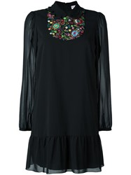 Red Valentino Embroidered Front Drop Waist Dress Black