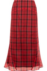 Joseph Ethan Plaid Silk Organza Midi Skirt Red