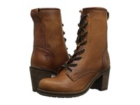 Frye Karen Lace Up Short Cognac Washed Oiled Vintage Women's Lace Up Boots Brown