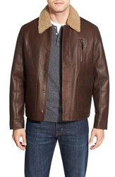Rodd Gunn 'Bannister' Leather Jacket With Genuine Shearling Collar Online Only Cognac