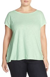 Plus Size Women's Eileen Fisher Hemp And Organic Cotton Ballet Neck Tee Green Mint