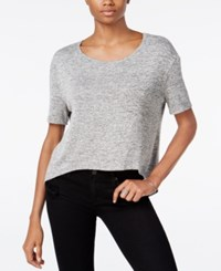 Bar Iii Zip Back Knit Top Only At Macy's Heather Grey