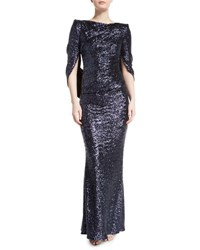 Talbot Runhof Konica Sequined Cape Back Gown Navy