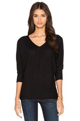 Velvet By Graham And Spencer Manalia Rayon Rib Dolman V Neck Tee Black