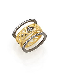 Freida Rothman Two Tone Lattice Clover Ring Set Gold