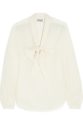 Temperley London Regina Lace Paneled Silk Crepe De Chine Blouse