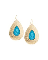 Lydell Nyc Worn Golden Pear Stone Drop Earrings Blue
