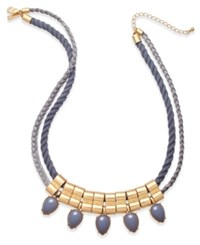 Inc International Concepts Gold Tone Faux Suede Rope Beaded Bib Necklace Only At Macy's Grey