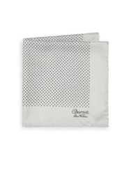 Charvet Silk Pocket Square White Black