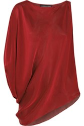 Maria Grachvogel Odyssey Draped Silk Satin Top Red