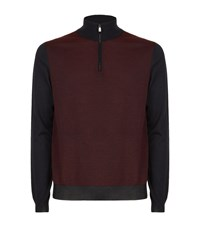 Corneliani Zip Knit Sweater Male Dark Grey