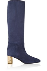Emilio Pucci Suede Knee Boots Navy