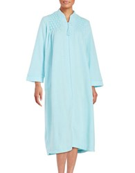 Miss Elaine Petite Embroidered Mumu Duster Robe Green