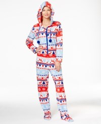 Pj Couture Hooded Footed Christmas Jumpsuit Holiday Fairisle