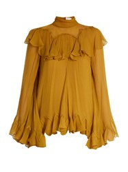 Chloe High Neck Silk Crepon Ruffle Blouse Yellow
