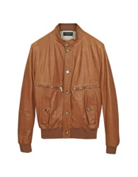 Forzieri Tan Leather Bomber Jacket