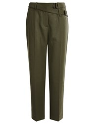 3.1 Phillip Lim Olive Wool Slim Cropped Trousers Green