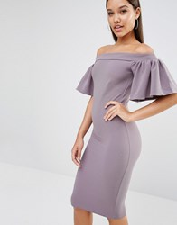 Oh My Love Midi Bardot Dress With Frill Grey