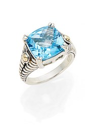 Effy Blue Topaz Sterling Silver And 18K Yellow Gold Square Ring