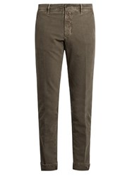 Incotex Slim Leg Stretch Cotton Chino Trousers Grey