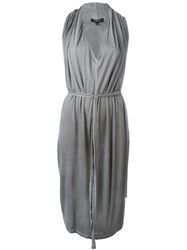 Unconditional Belted Cape Dress Grey
