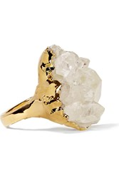 Dara Ettinger Gold Plated Quartz Ring Metallic