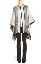 Mih Jeans 'Blanket Wrap' Reversible Poncho Cream Stripe