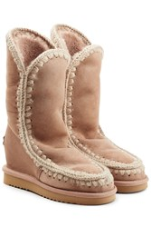 Mou Eskimo Wedge Tall Sheepskin Boots Camel