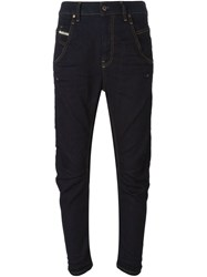 Diesel Dark Blue Cropped Drop Crotch Jeans