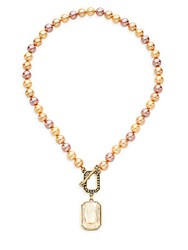 Heidi Daus Basic With A Twist Faux Pearl And Swarovski Crystal Necklace Yellow Pink