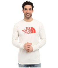 The North Face Long Sleeve Half Dome Tee Vaporous Grey Fiery Red Men's T Shirt Orange