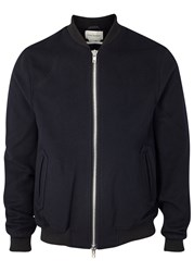 Oliver Spencer Bermondsey Navy Wool Blend Bomber Jacket