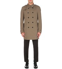Hugo Boss Double Breasted Cotton Twill Trench Coat Dark Beige