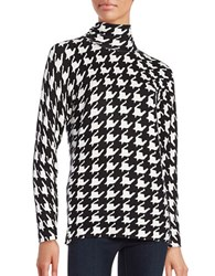 Context Houndstooth Print Highneck Top Black Ivory