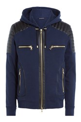 Balmain Zipped Cotton Hoodie With Leather Blue