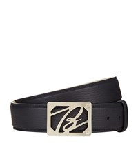 Brioni Grained Leather Logo Buckle Belt Unisex Navy