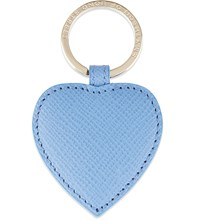 Smythson Panama Leather Heart Keyring Nile Blue