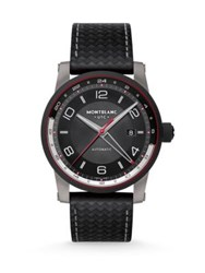 Montblanc Timewalker Dlc Coated Stainless Steel And Leather Automatic Strap Watch Black